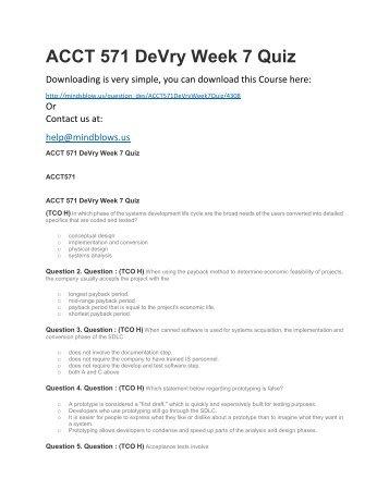 ACCT 571 DeVry Week 7 Quiz