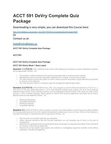 ACCT 591 DeVry Complete Quiz Package