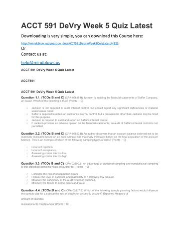 ACCT 591 DeVry Week 5 Quiz Latest