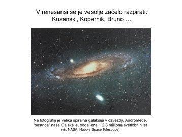 Razpiranje vesolja: Kuzanski, Kopernik, Bruno - Arnes