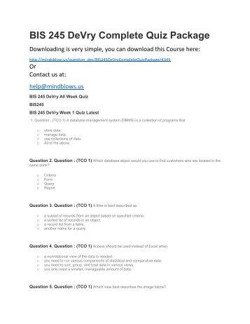 BIS 245 DeVry Complete Quiz Package