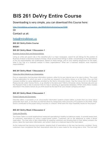 BIS 261 DeVry Entire Course