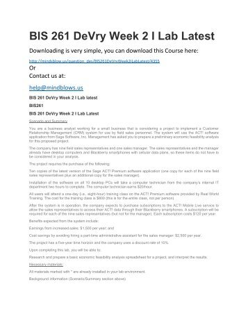 BIS 261 DeVry Week 2 iLab Latest