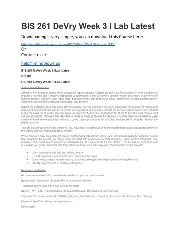 BIS 261 DeVry Week 3 iLab Latest