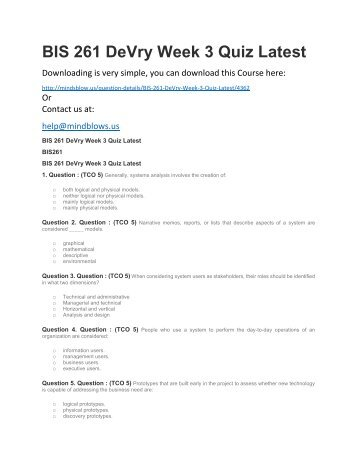BIS 261 DeVry Week 3 Quiz Latest