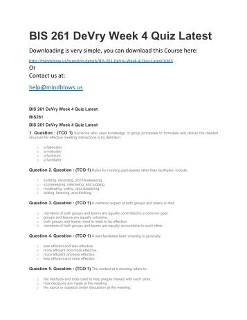 BIS 261 DeVry Week 4 Quiz Latest