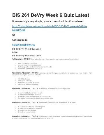 BIS 261 DeVry Week 6 Quiz Latest
