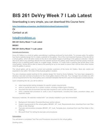 BIS 261 DeVry Week 7 iLab Latest