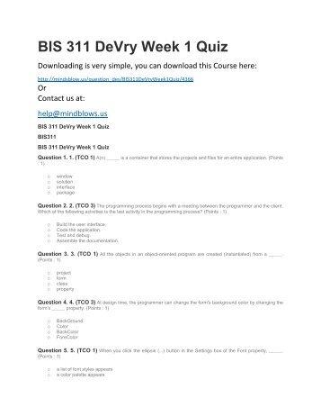 BIS 311 DeVry Week 1 Quiz
