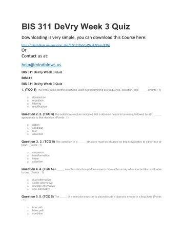 BIS 311 DeVry Week 3 Quiz