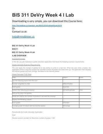 BIS 311 DeVry Week 4 iLab
