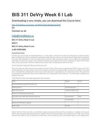 BIS 311 DeVry Week 6 iLab