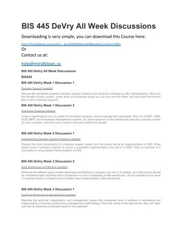 BIS 445 DeVry All Week Discussions