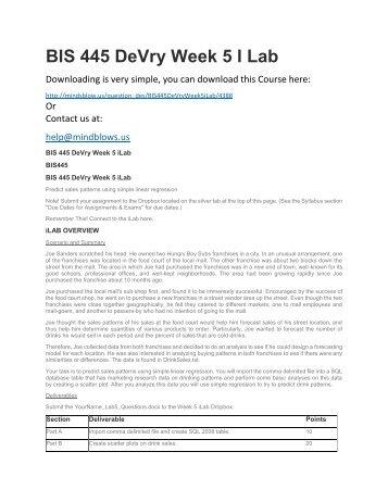 BIS 445 DeVry Week 5 iLab