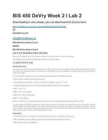 BIS 450 DeVry Week 2 iLab 2