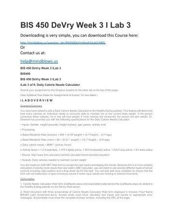 BIS 450 DeVry Week 3 iLab 3
