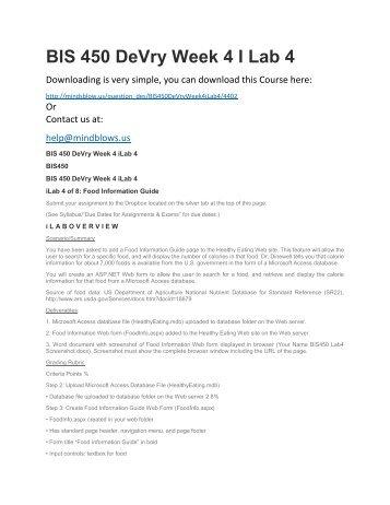 BIS 450 DeVry Week 4 iLab 4
