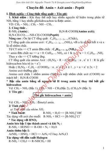 Bài tập và lời giải ôn chuyên đề kim loại và axit amin, peptit
