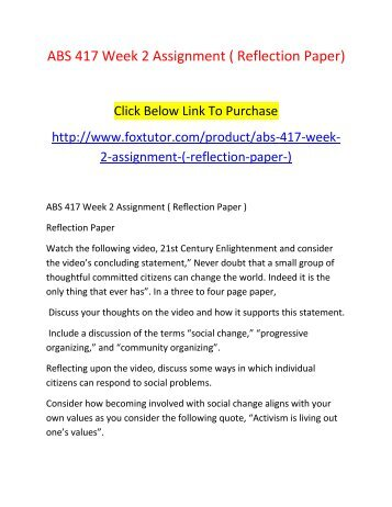 ABS 417 Week 2 Assignment ( Reflection Paper)