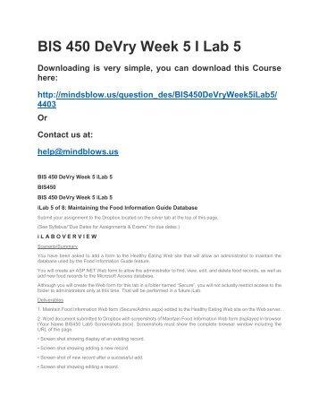 BIS 450 DeVry Week 5 iLab 5