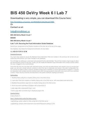 BIS 450 DeVry Week 6 iLab 7