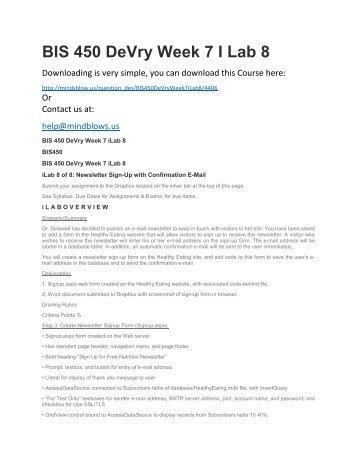 BIS 450 DeVry Week 7 iLab 8