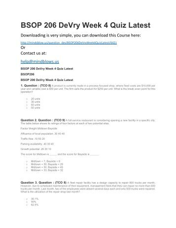 BSOP 206 DeVry Week 4 Quiz Latest