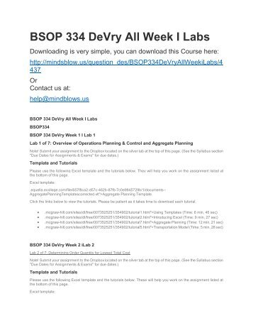 BSOP 334 DeVry All Week iLabs