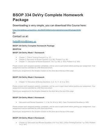 BSOP 334 DeVry Complete Homework Package
