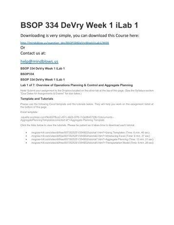BSOP 334 DeVry Week 1 iLab 1