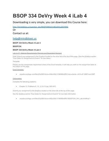 BSOP 334 DeVry Week 4 iLab 4