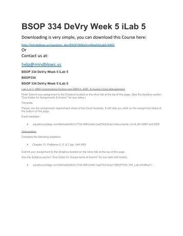 BSOP 334 DeVry Week 5 iLab 5