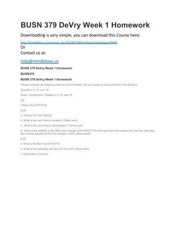BUSN 379 DeVry Week 1 Homework