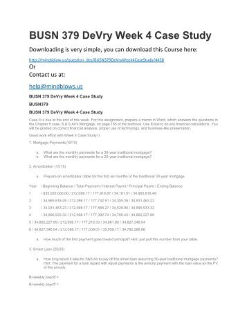 BUSN 379 DeVry Week 4 Case Study