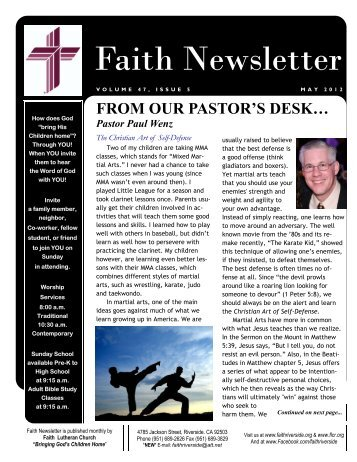 FROM OUR PASTOR'S DESK… Pastor Paul Wenz