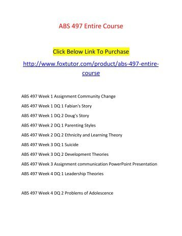 ABS 497 All Assignments