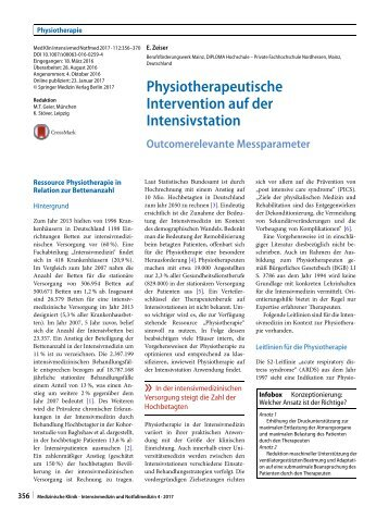 12 Physiotherapeutische Intervention auf der Intensivstation