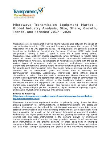 Microwave Transmission Equipment Market - Global Industry Analysis, Size, Share, Growth, Trends, and Forecast 2017 - 2025