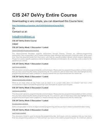 CIS 247 DeVry Entire Course