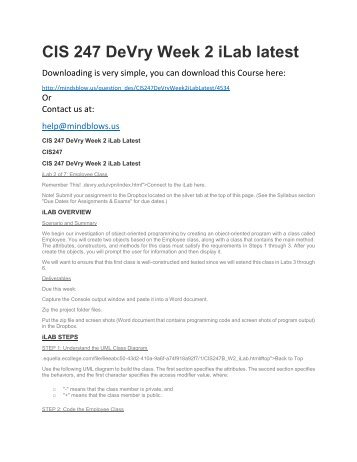 CIS 247 DeVry Week 2 iLab Latest