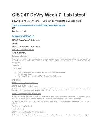 CIS 247 DeVry Week 7 iLab Latest