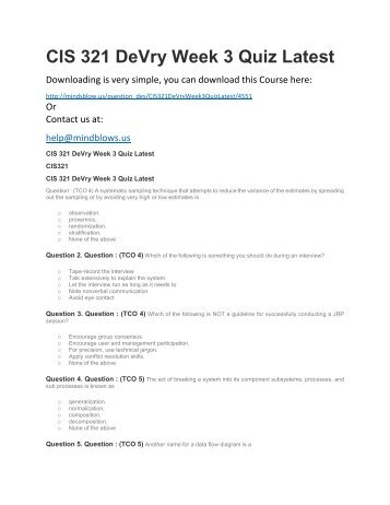 CIS 321 DeVry Week 3 Quiz Latest