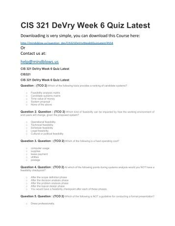 CIS 321 DeVry Week 6 Quiz Latest