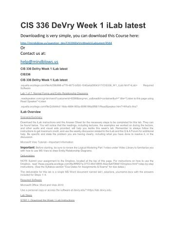CIS 336 DeVry Week 1 iLab Latest