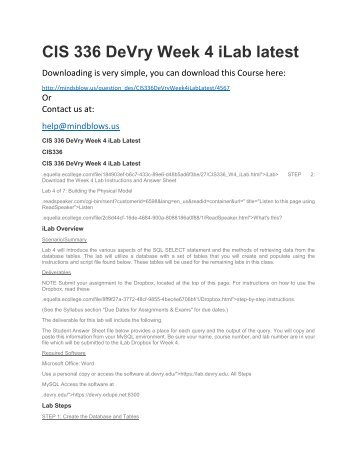 CIS 336 DeVry Week 4 iLab Latest
