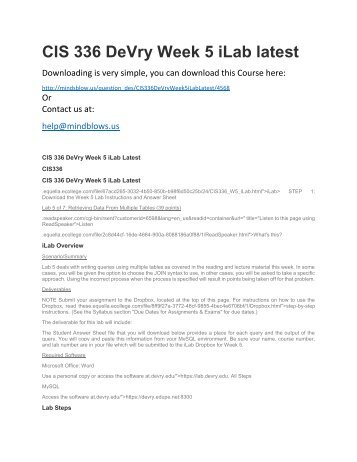 CIS 336 DeVry Week 5 iLab Latest
