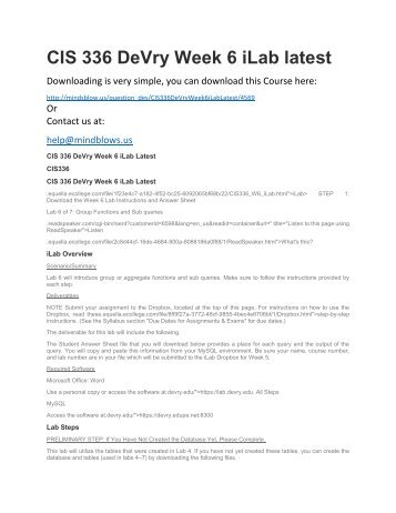 CIS 336 DeVry Week 6 iLab Latest