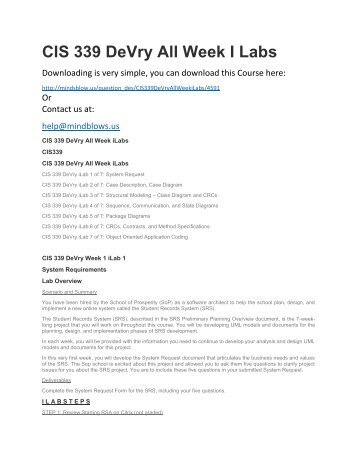 CIS 339 DeVry All Week iLabs