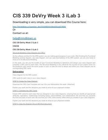 CIS 339 DeVry Week 3 iLab 3