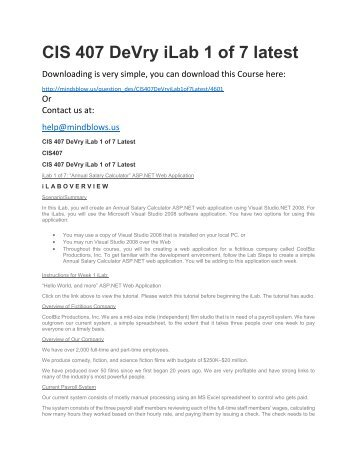 CIS 407 DeVry iLab 1 of 7 Latest